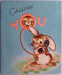 125 Bunny on the Telephone Vintage Birthday Greeting Card Vintage Birthday Cards, Vintage Greeting Cards, Vintage Ephemera, Birthday Greeting Cards, Birthday Greetings, Hunny Bunny, Vintage Wrapping Paper, Images Vintage, Old Cards