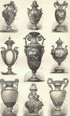 illustration types of urns Urn Vase, Vases, Vasos Vintage, Ornament Drawing, Garden Urns, Classic Architecture, Vintage Ephemera, Gravure, Decorative Accessories
