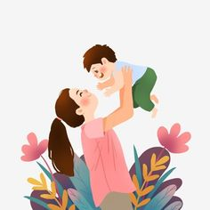 Kids Background, Background Banner, Mother Art, Mother And Child, Family Illustration, Cute Illustration, Mother Clipart, Love Mom, Mothers Love