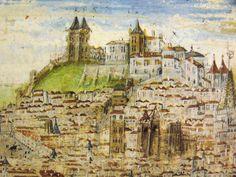 """Detalhe do Castelo de São Jorge e das muralhas da cidade no panorama geral de Lisboa durante o cerco de D. Afonso Henriques na """"Crónica de D. Afonso Henriques"""" de Duarte Galvão (1505)."""