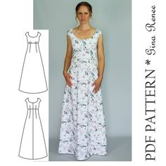 Maxi Dress Sewing PDF Pattern - Womens Maxi Dress Pattern - Maxi Dress patterns for Women Such a perfect staple dress sewing pattern for your wardrobe. This long maxi woven dress can be sewn with solids, florals or prints! This is a very flattering fitted Dress Sewing Patterns, Clothing Patterns, Pattern Dress, Pattern Sewing, Long Dress Patterns, Skirt Patterns, Pattern Drafting, Blouse Patterns, Simple Dress Pattern