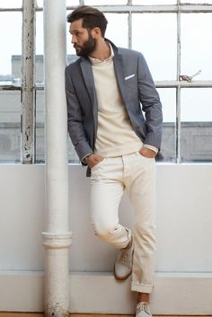 Cream outfit Paired with a gray blazer #menswear #winter #style