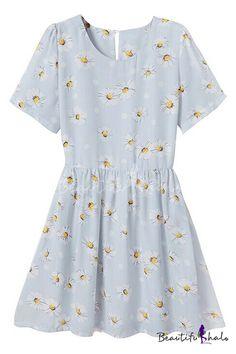 Daisy Print Round Neck Short Sleeve Pleated Dress