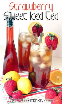 Do you love strawberries? Are you a sweet tea fan? If you answered a double YES.then check out our Strawberry Sweet Tea .it is truly a Summer Treat! Party Drinks, Cocktail Drinks, Fun Drinks, Beverages, Cold Drinks, Tea Party, Cocktails, Refreshing Drinks, Summer Drinks