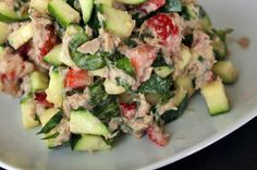 Tuna Salad with Zucchini and Strawberries. Word to describe it: Wow. And it's a super lean & healthy meal.