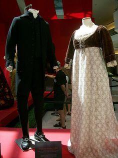 Sense and Sensibility costumes    Left: Hugh Grant's austere black costume, c.1790s. Right: Emma Thompson's wedding costume, c. 1790s.