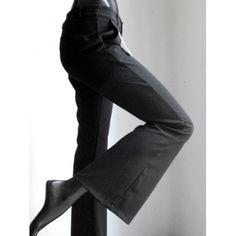 Black flared women trousers