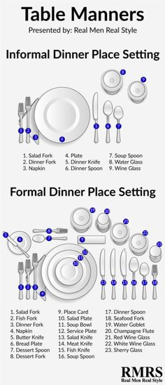 Dining Etiquette Rules EVERY Man Must Know - Avoid Bad Table Manners Good table manners aren't old-fashioned. To get ahead in business and romance, learn the rules of dining etiquette for men - they're simpler than you think. Dinning Etiquette, Table Setting Etiquette, Table Settings, Etiquette Dinner, Place Settings, Good Table Manners, Good Manners, Etiquette And Manners, Useful Life Hacks