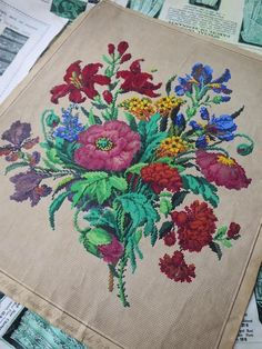 An antique Victorian hand painted berlin woolwork embroidery charts from L.W.Wittich of a bouquet of flowers. The painted area of the chart measures ;. The chart is in very good condition and has been mounted onto linen to protect the edges. | eBay!
