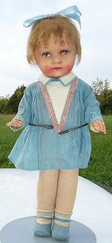1930 German Girl    1930's papier mache on cloth body with celluoid hands. 17 inches tall.