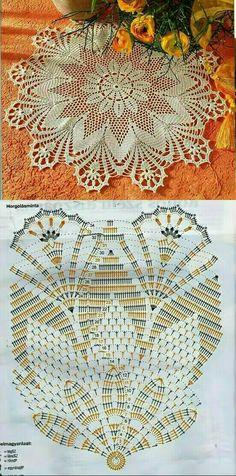 Free Crochet Doily Patterns, Crochet Doily Diagram, Crochet Art, Crochet Home, Cute Crochet, Crochet Motif, Crochet Stitches, Crochet Potholders, Crochet Tablecloth
