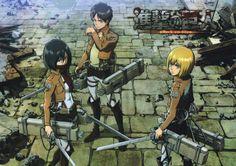 Shingeki no Kyojin (Aka: Attack on TItan) Mikasa, Eren and Armin.