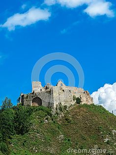 Photo about The ruins of the Czorsztyn castle on the hill. Image of vacation, background, tourism - 69710485 Castle On The Hill, Mount Rushmore, Tourism, Europe, Stock Photos, Vacation, Mountains, Nature, Travel