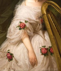 """Portrait of a Woman"" (detail) by Luis de Madrazo (1825-1897)."