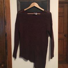 Loose Sheer Knit Asymmetrical Bottom Sweater Dark plum/purple tunic sweater with asymmetrical hem H&M Sweaters Crew & Scoop Necks