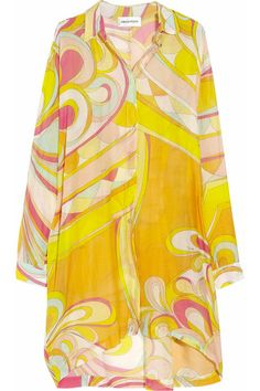 Emilio Pucci Oversized printed cotton-blend voile shirt