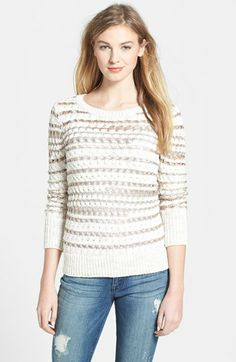 Caslon® Open Stitch Stripe Sweater (Regular & Petite) available at #Nordstrom