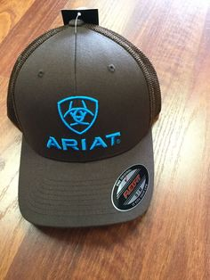 Ariat Brown with Turquoise Logos Mesh Side Flex Fit Cap 08d2b6213a8