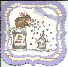Dip 'n Dots Creations: House Mouse B-day card
