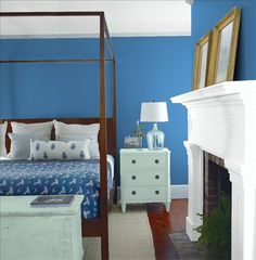 Look at the paint color combination I created with Benjamin Moore. Via @benjamin_moore. Wall: Chicago Blues 804; Mantle: Chalk White 2126-70; Chest: Wythe Blue HC-143; Ceiling: Chalk White 2126-70.