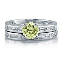 Canary CZ 925 Sterling Silver 2-Pc Solitaire Wedding Ring Set 1.03 Ct