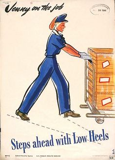 Jenny on the job steps ahead with low heels (1944). This is a war worker ad, now let's talk about that hair net!