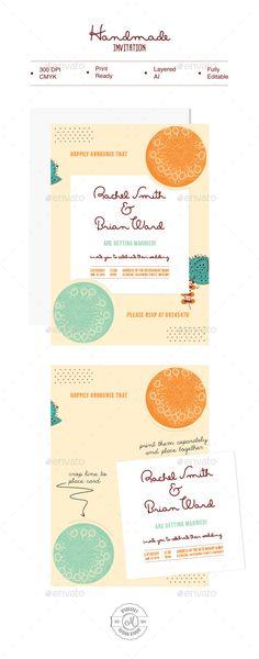 Handmade Invitation - Wedding Card Invitation Template Vector EPS, Vector AI. Download here: http://graphicriver.net/item/handmade-invitation/9949759?s_rank=82&ref=yinkira