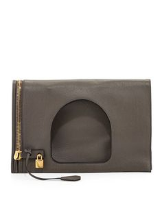 Alix Leather Padlock & Zip Fold-Over Bag, Graphite (Dark Gray ) by Tom Ford at Neiman Marcus.