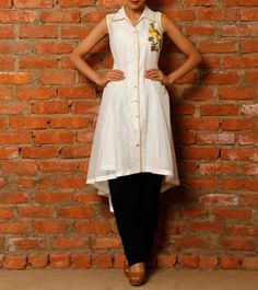 Cream Cotton Tunic with Sequin Embroidery
