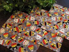 Table Topper Runner Halloween Squares in Candy Corn Characters Print Padded Halloween Wine Bottles, Halloween Table Runners, Presidents Day Sale, Halloween Prints, Kids Lighting, Cloth Napkins, Table Toppers, Candy Corn, A Table