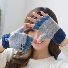 1ab3eacf5 Fashion Winter Women Clamshell Acrylic Fingerless Gloves Multifunctional  Cute Warm Patchwork Mittens for Students gants femme