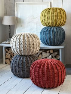 Add a splash of colour to your Nordic room with these amazing Knitted Poufs. All textiles, blankets, rugs, pillows, towels, are designed to add more colour to neutral in Scandinavian interior design and rescue from depression.