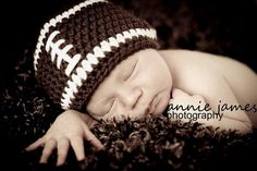 Baby Boy Newborn to 13 Month Football Beanie Hat by MeToYouCrochet, $18.00