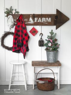 Christmas arrow sign with a stencil offer on FunkyJunkInteriors.net #12days72ideas