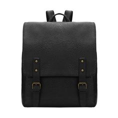 SheIn(sheinside) Black Buckles PU Backpacks (86 SAR) ❤ liked on Polyvore featuring bags, backpacks, black, pu bag, polyurethane bags, pu backpack, backpack bag and black knapsack