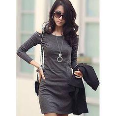 Gola redonda Bodycon cor sólida manga comprida mini vestido das mulheres – BRL R$ 34,17