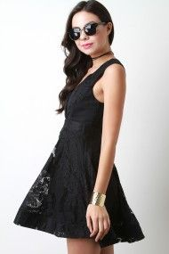 Free SH & Easy Returns! Shop Sleeveless Lace Surplice Ruffle Dress. This…