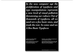 Massimo Vignelli-Few Basic Typefaces Exhibition & Poster New York, 1991 Massimo Vignelli, Graphic Design Layouts, Layout Design, Print Design, Michael Bierut, Design Observer, Handwritten Text, Publication Design, Typography