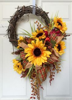 Fall or Autumn round Grapevine Wreath by WilliamsFloral on Etsy