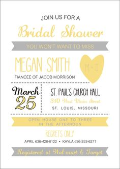 Love the layout on this Bridal Shower invite. Versatile for other occasions as well.