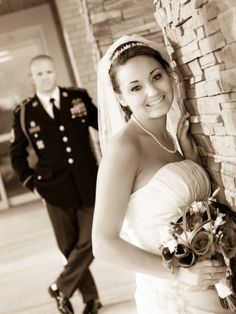 Maine Wedding Photography, unique creative modern romantic, LAD Photography, bride with groom in background, army rangers