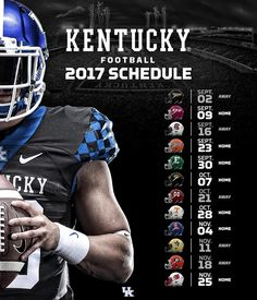 Kentucky's 2017 football schedule was just announced by the SEC! Read more about… University Of Kentucky Football, Kentucky Athletics, Kentucky Sports, University Of Ky, Uk Football, College Football Schedule, Basketball Schedule, Basketball Coach, Basketball Games