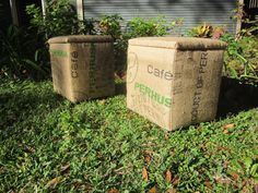 Coffee Bean Bag Storage Cube by thegypsytrunkvintage on Etsy, $130.00