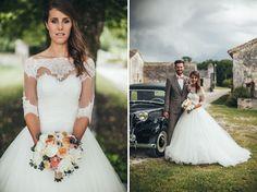 Long sleeved wedding dress + vintage car getaway