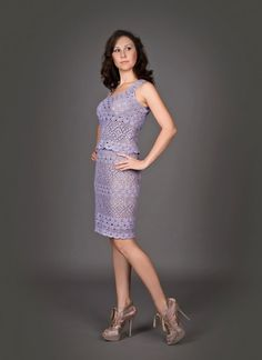 Orchid exclusive crochet two-piece dress - the finished product in a single original