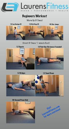 Beginners at home workout. No more excuses, get started today right in your living room. http://www.laurensfitness.com/2013/04/23/beginners-at-home-workout-yet-another/