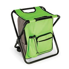 Camco Foldable Camping Stool Backpack Cooler Trio- Camping or Hiking Bag with Waterproof Insulated Cooler Pockets with Portable Sturdy Legs for Seating - Green (51909) #Camco #Foldable #Camping #Stool #Backpack #Cooler #Trio #Hiking #with #Waterproof #Insulated #Pockets #Portable #Sturdy #Legs #Seating #Green