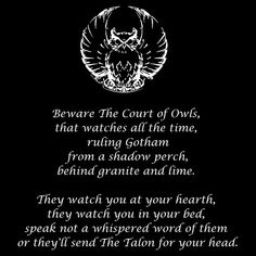 The Court of Owls is an ancient conspiracy that has controlled Gotham City for centuries. Dc Comics, Batman Comics, Owl Talons, Gothic Writing, Daredevil Art, Owl Quotes, Court Of Owls, Mafia Crime, Owls