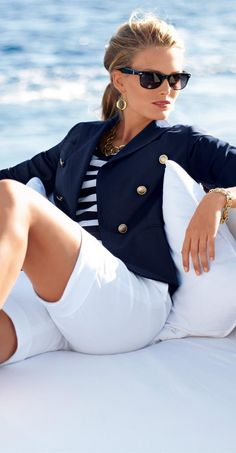 Take a look at 15 stylish navy blazer summer outfits to wear at work in the photos below and get ideas for your own amazing outfits! Smythe navy blazer and Tory Burch satchel. Nautical Outfits, Nautical Fashion, Nautical Style, Coastal Style, Coastal Decor, Nautical Clothing, Women's Clothing, Summer Clothing, Bohemian Fashion