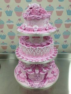 3 Tier Pink Royal Iced Wedding Cake 	 all handmade roses and accents  ~ all edible